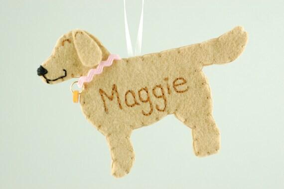 Personalized Felt Ornament Golden Retriever Dog- Made to Order Felt Dog Ornament