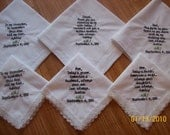 Wedding Handkerchiefs...Set of Six