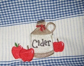 Gingham Dish Towel with Apple Cider Embroidery