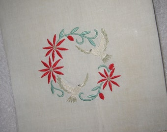 Linen Tea Towel with Christmas Doves