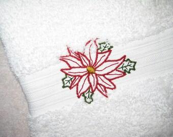 Poinsettia Hand Towel