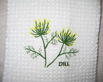 Dill on White Waffle Weave Towel