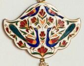 Vintage Guilloche Enameled Pendant  with Peacocks - Renovation  Repurpose Repair