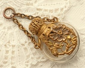 Antique  Chatelaine Perfume Bottle - Brass - Victorian Collectible