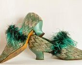 Art Deco Shoes - Ostrich Feather Trim  High Vamp  1920s  Size 4 English