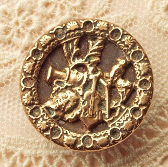 Antique Victorian Picture Button,The Sad End  of Orpheus,Greek Mythology