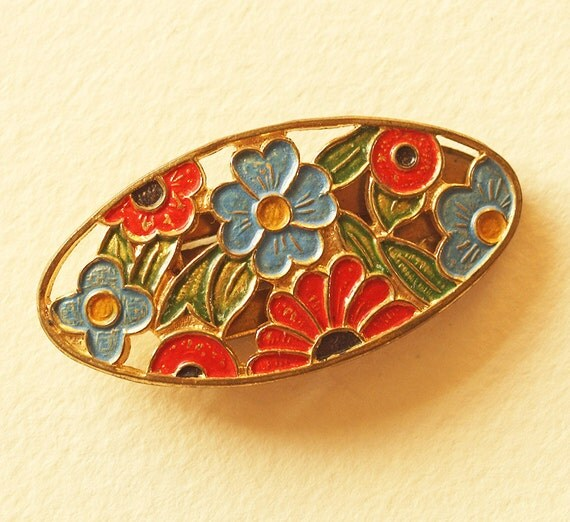 Art Deco Cold Painted Enamel Dress Clip - Bright Naive Flowers -