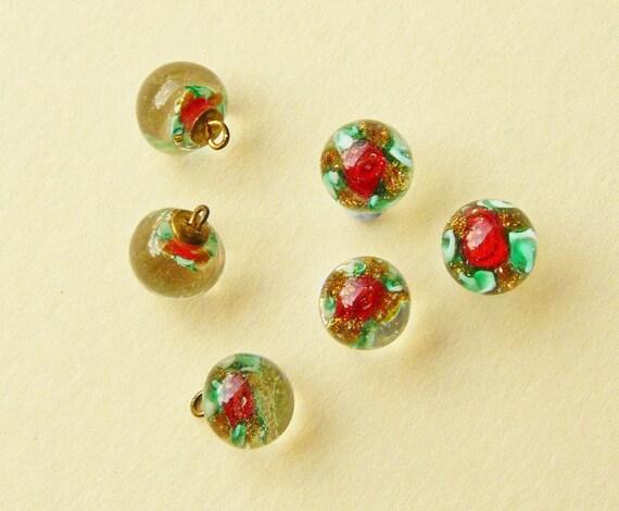RESERVED Six Czech Glass Millefiori Paperweight Buttons