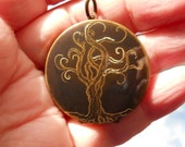 Engraved Curly Tree of Life Locket version three original artwork on vintage brass comes with ribbon