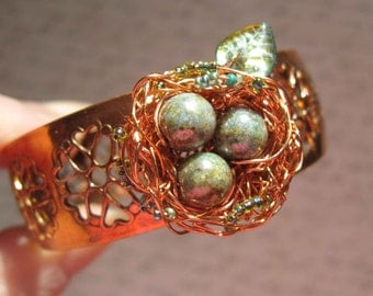 Mossy Woodland Birdnest cuff on copper filigree adjustable