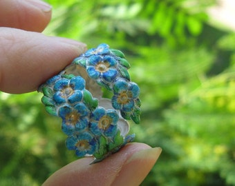 Whimsical Shabby Chic Forget me not adjustable ring