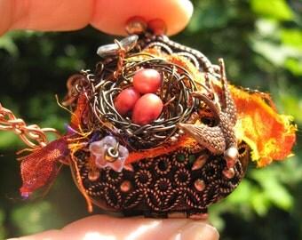 Autumn Red Poppies Birdnest on copper purse locket necklace