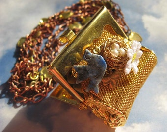 Romantic Vintage Mesh Purse with Bluebird and nest necklace