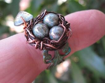 Enchanted Moss Woodland Birdnest on Verdigris Filigree adjustable ring version four