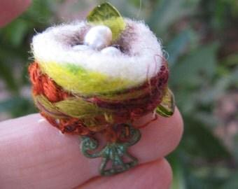 Whimsical Hummingbirdnest on Verdigris Filigree adjustable ring