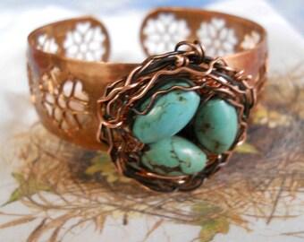 Woodland Robin Birdnest cuff on copper filigree adjustable