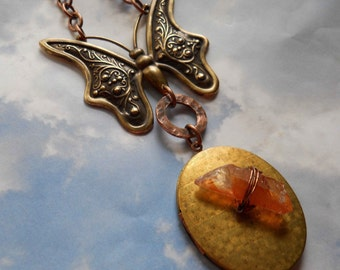 Magical Tangerine Quartz locket with vintage butterfly necklace fall colors