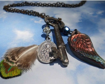 On a wing and a prayer Skeleton key necklace with Sacred Heart Medal