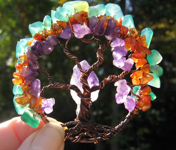 Mini Magic Rainbow Glow Tree of life on hammered copper necklace