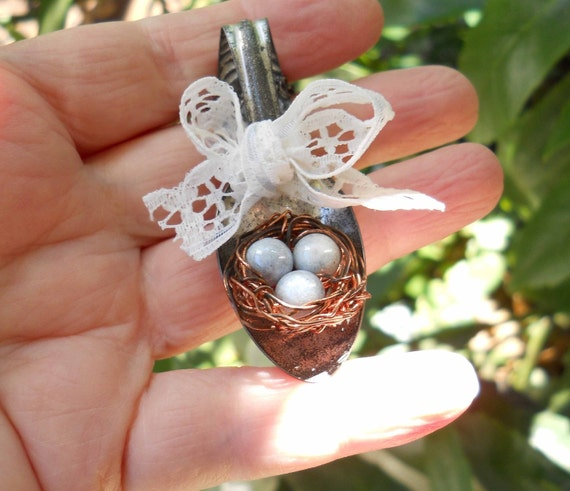 Enchanted Vintage Spoon with Robin bird nest necklace