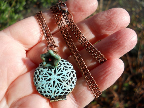 I am enough...verdigris filigree quote locket necklace on copper chain