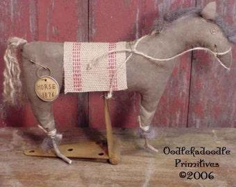 Primitive Folk Art Horse Make Do Instant Digital Download E-Pattern  ET