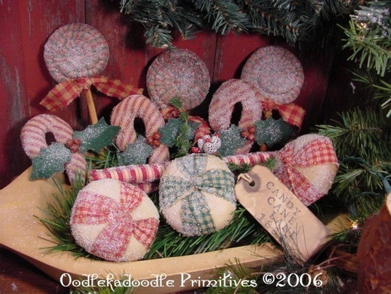 OLD FASHION PRIMITIVE CHRISTMAS CANDY ORNIES BOWL FILLER TUCKS E PATTERN ET