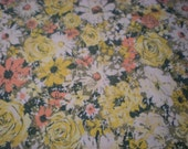 Vintage Table Cloth Green with Flowers