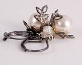 Earrings Cream Pearl Gunmetal Gift Halloween Short Dangles Jewellery