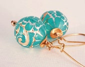 Earrings Vintage Teal Gold Modern Etched Beach Party Handmade Jewellery - LAST PAIR