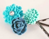 Blue Flower Hair Pins Turquoise Set of 3 Beach Cottage Accessory for Girl Her Under 15
