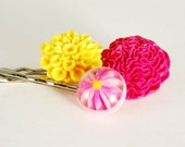 Hair Pins Hot Pink Yellow Daisy Flower Garden Jewelry Accessories Gifts for Her Girl Under 15