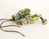 Vintage Rhinestone Earrings - Dangles Gold Pyrite Brass Green Jewelry Gifts for Her Under 25