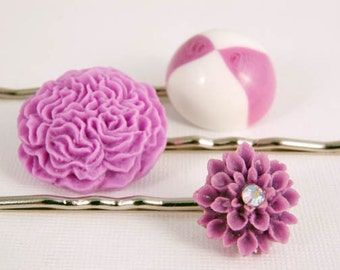 Hair Pins Purple Lilac Flower Pastel Jewelry Handmade Accessories Gift for Girl Her Birthday