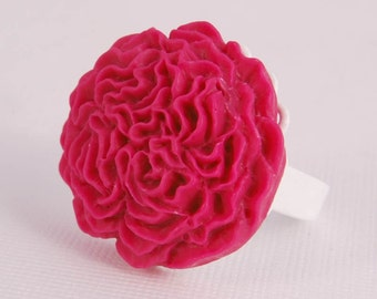 Ring White Filigree Adjustable Band Hot Pink Flower Girl Gifts for Her Under 10