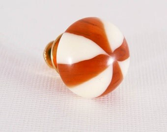 Tie Tack Caramel Cream Stripe Circus Lucite Lapel Pin Accessory Gift for Dad