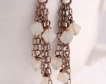 Swarovski Crystal Long Earrings, Brass Chain Tassel Earrings Gifts for Her Under 25