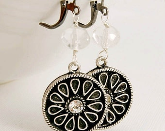 Earrings Dangle Art Deco Rhinestone Gunmetal Vintage Button Jewelry Gifts for Her  - LAST PAIR