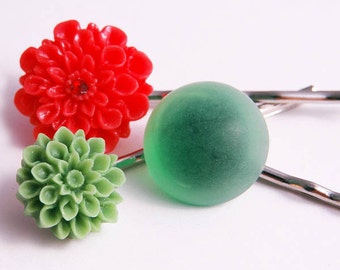 Hair Pins Red Green Flower Jewelry Floral Accessories Gifts for Her Kids Girl's Under 15