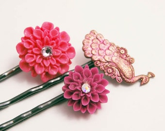 Floral Hair Pins Pink Purple Peacock Hair Jewelry Accessories Gifts for Her Under 15 Bobby pins