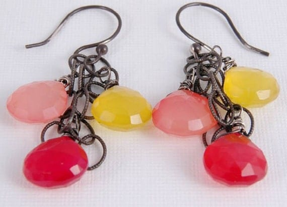 Dangle Earrings Pink Yellow Orange Fruit Cocktail Oxidized Sterling Summer Jewelry Gifts for Her Mom
