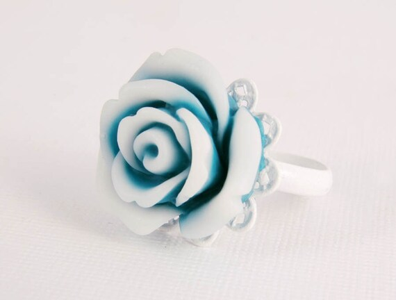 Ring - Blue Cream Rose, White Filigree Adjustable Costume Jewellery for Girlie Girl
