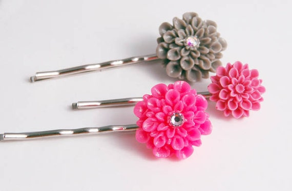 Hair Pins Pink Gray, Flower Bobby Pins, Accessories Jewelry Gift for Her Under 15