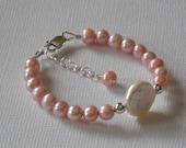 HARPER Baby, Infant, Toddler, Kids, Little Girls Pink Freshwater Pearl Bracelet
