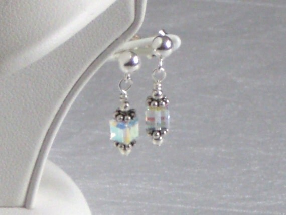 HANNAH Sterling Silver Earrings with Square Swarovski Crystals