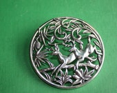 Vintage Deer in The Woods Pin Silver Metal Woodland