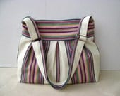 All Stripy PINK-BLUE-RED-CREAM --three pleated everyday bag, with adjustable strap--