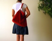 NEW Classy Hobo Bag in Carmine Red - with top ZIPPER CLOSURE -- Large