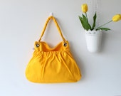 Kangaroo Bag in Canary Yellow - Sunny - Sun Yellow - Bright - Shoulder Bag - Big outside pocket - Perfectly - Spring - Picnic