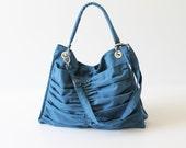 Diaper Bag / Euphoria in Teal / Outside Pockets / Pleated Bag / Shoulder Bag / Travel Bag / Large / Cross Your Body / Choose your Color